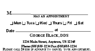 Appointment Cards -Dental