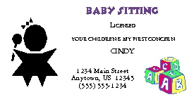 Child care baby sitters business cards chc business card 3 colourmoves