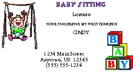 Child care baby sitters business cards chc business card 4 colourmoves