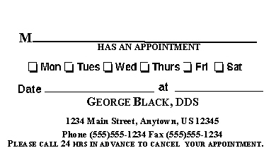 ma appointment card 2 - Dental Appointment Cards
