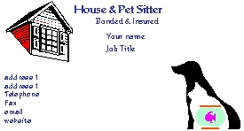 house sitting business cards